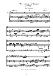 Concerto for Oboe and Orchestra in D Minor, BWV 1059: Version for oboe and piano by Johann Sebastian Bach