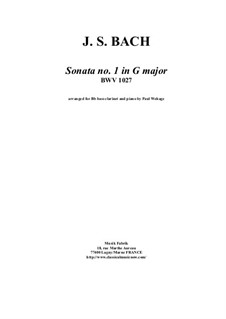 Sonata for Viola da Gamba and Harpsichord No.1 in G Major, BWV 1027: Arrangement for bass clarinet and piano by Johann Sebastian Bach