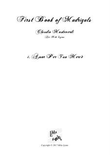 Book 1 (a cinque voci), SV 23–39: No.04. Amor per la tua merce. Arrangement for quintet instruments by Claudio Monteverdi