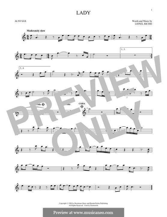 Lady: For alto saxophone by Lionel Richie