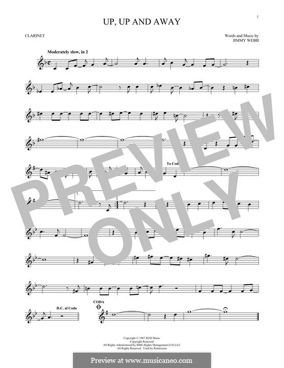 Up, Up and Away (The Fifth Dimension): For clarinet by Jimmy Webb