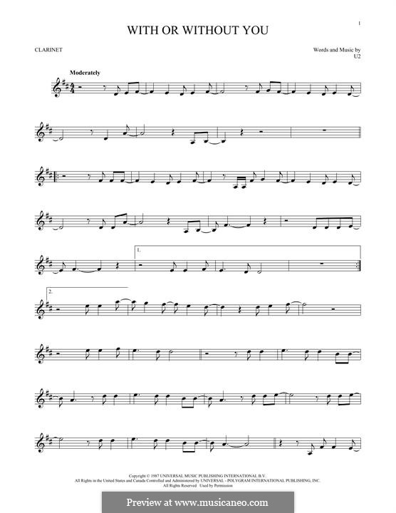 With or without You: For clarinet by U2