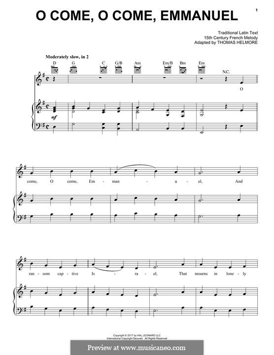 O Come, O Come, Emmanuel: For voice and piano by folklore