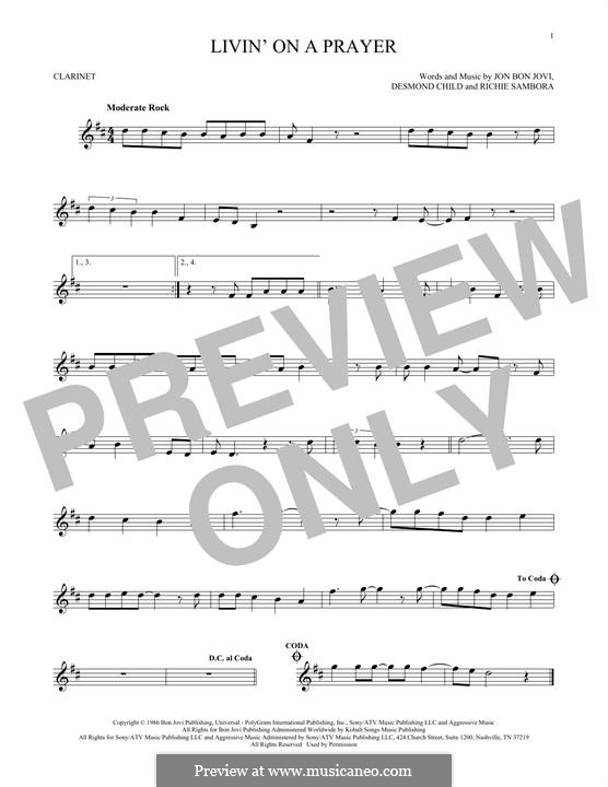 Livin' on a Prayer (Bon Jovi): For clarinet by Desmond Child, Jon Bon Jovi, Richie Sambora