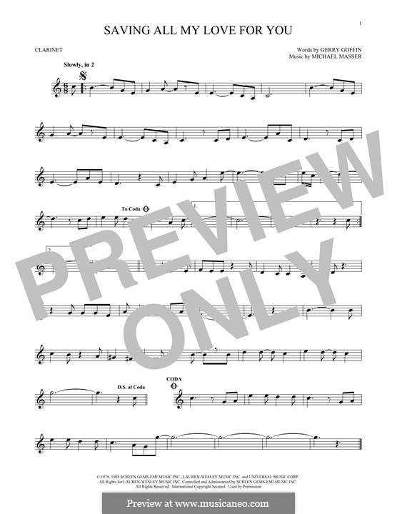 Saving All My Love for You (Whitney Houston): For clarinet by Gerry Goffin, Michael Masser