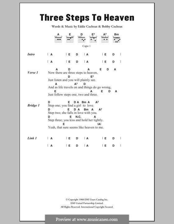 Three Steps to Heaven: Lyrics and chords by Bobby Cochran, Eddie Cochran