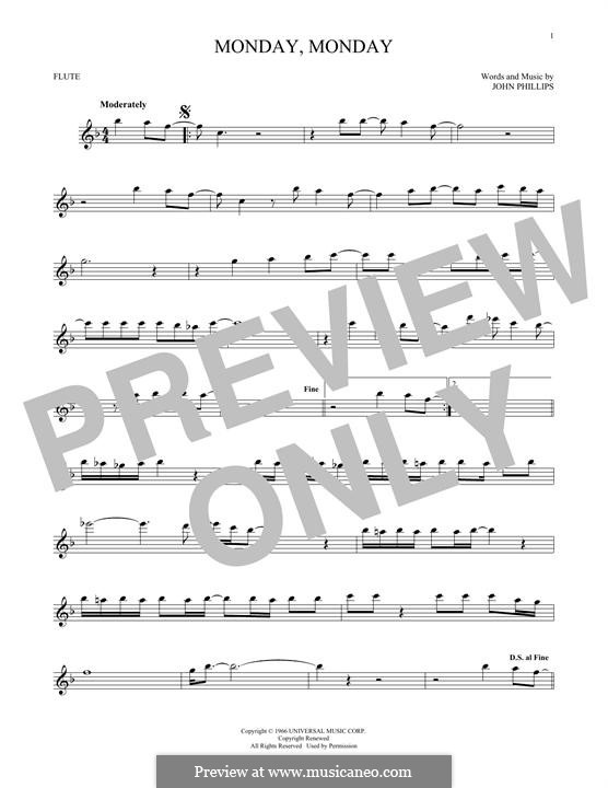 Monday Monday (The Mamas & The Papas): For flute by John Phillips