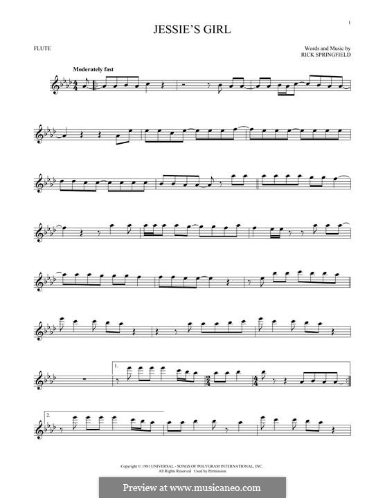 Jessies Girl By R Springfield Sheet Music On Musicaneo