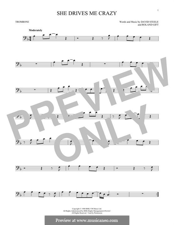 She Drives Me Crazy (Fine Young Cannibals): For trombone by David Steele, Roland Gift