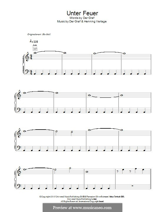 Unter Feuer (Unheilig): For voice and piano (or guitar) by Der Graf, Henning Verlage