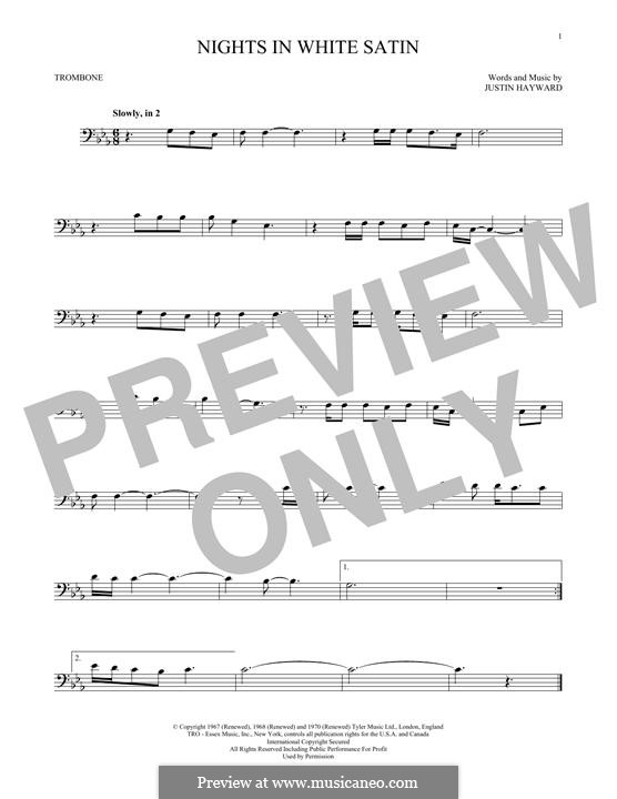 Nights in White Satin (The Moody Blues): For trombone by Justin Hayward