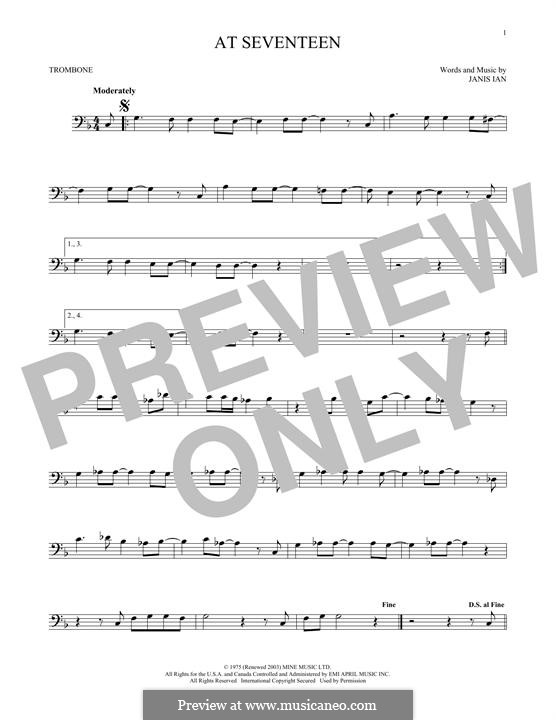 At Seventeen: For trombone by Janis Ian