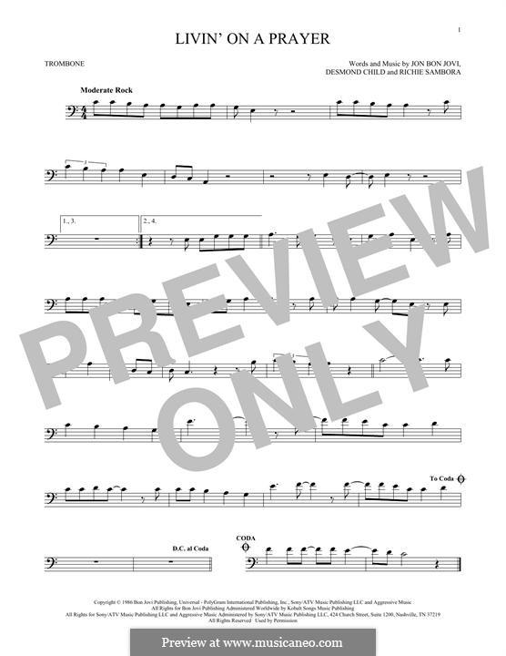 Livin' on a Prayer (Bon Jovi): For trombone by Desmond Child, Jon Bon Jovi, Richie Sambora