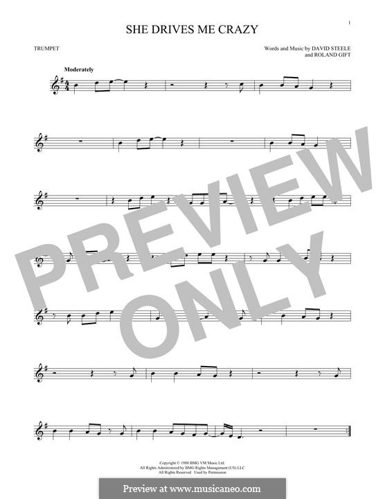 She Drives Me Crazy (Fine Young Cannibals): For trumpet by David Steele, Roland Gift