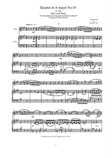 String Quartet No.18 in A Major, K.464: Arrangement for flute and piano - score and part by Wolfgang Amadeus Mozart