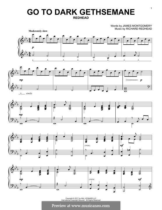 Go to Dark Gethsemane: For piano by Richard Redhead