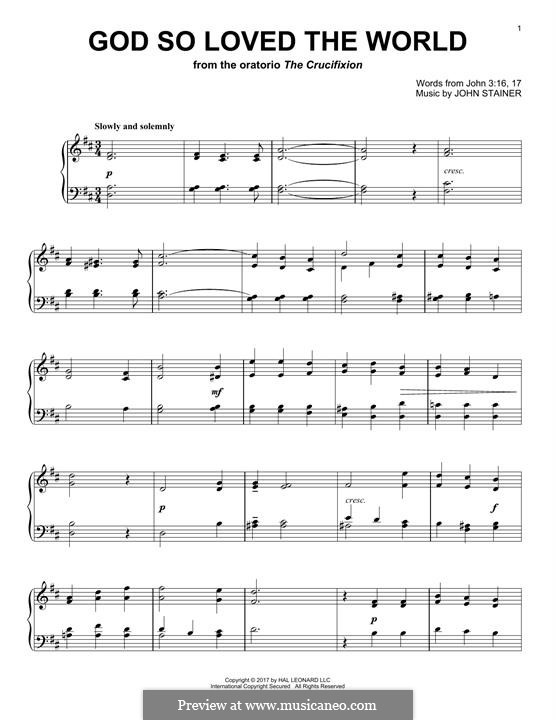 God so loved the world: For piano by John Stainer