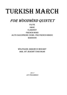 Rondo alla turca: For woodwind quintet by Wolfgang Amadeus Mozart