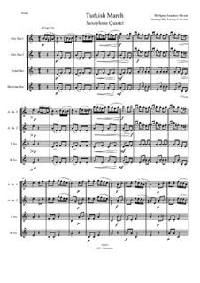 Rondo alla turca: For saxophone quartet by Wolfgang Amadeus Mozart