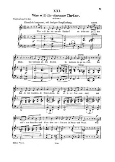No.21 Was will die einsame Träne (Réponds, ô larme furtive): For voice and piano by Robert Schumann
