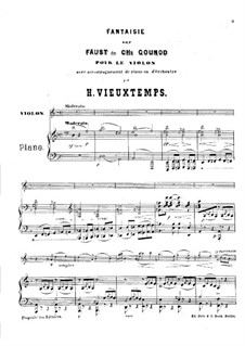 Fantasia on Themes from 'Faust' by Gounod: Score by Henri Vieuxtemps