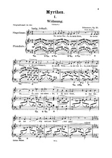 No.1 Widmung (Dedication): For voice and piano by Robert Schumann