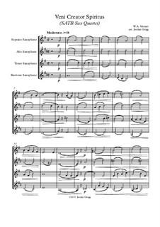 Veni Creator Spiritus: For SATB sax quartet by Wolfgang Amadeus Mozart
