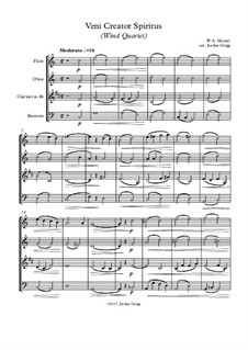 Veni Creator Spiritus: For wind quartet by Wolfgang Amadeus Mozart