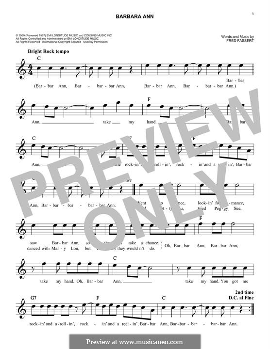 Barbara Ann The Beach Boys By F Fassert Sheet Music On Musicaneo