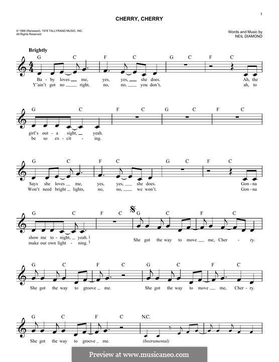 Cherry, Cherry: Melody line by Neil Diamond