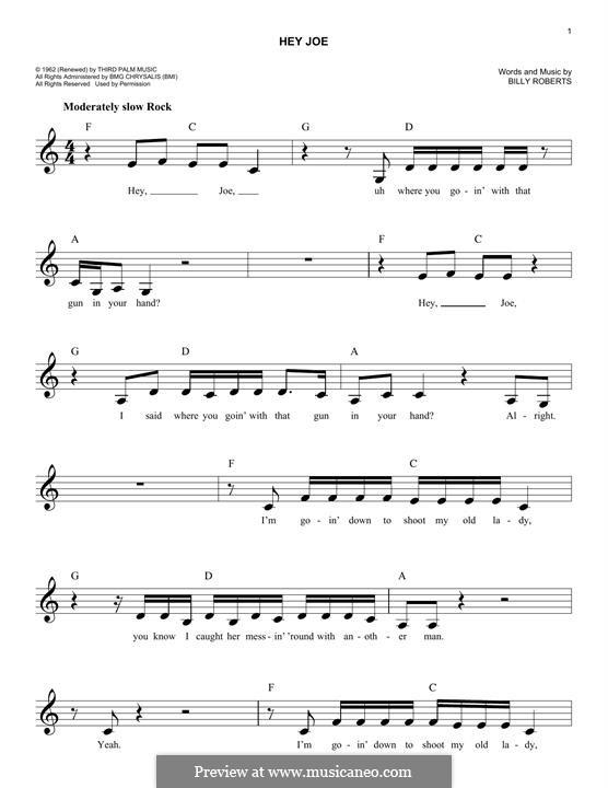 Hey Joe by B. Roberts - sheet music on MusicaNeo