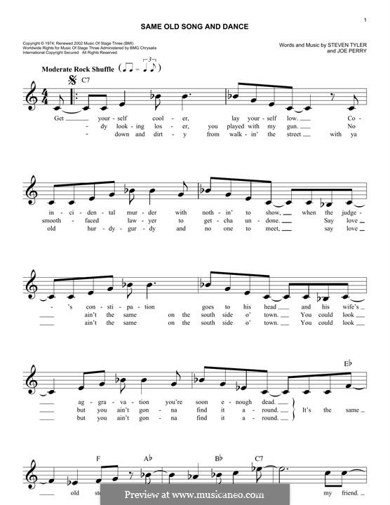 Same Old Song & Dance (Aerosmith): Melody line by Joe Perry, Steven Tyler