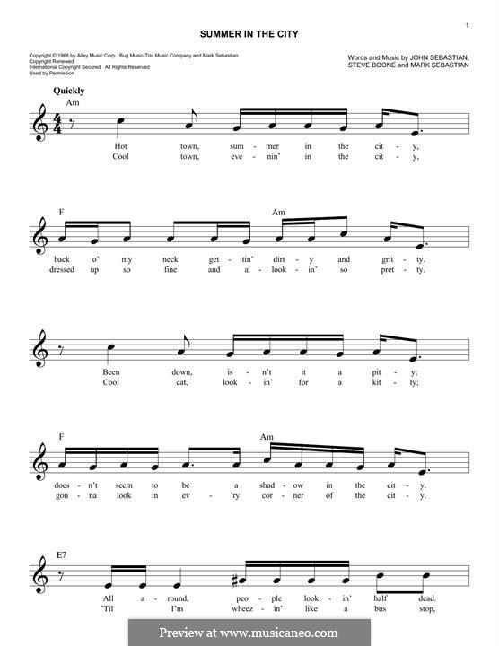 Summer in the City (The Lovin' Spoonful): Melody line by John B. Sebastian, Mark Sebastian, Steve Boone