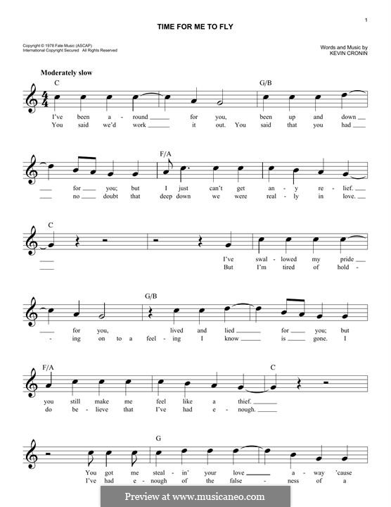 Time for Me to Fly (REO Speedwagon): Melody line by Kevin Cronin
