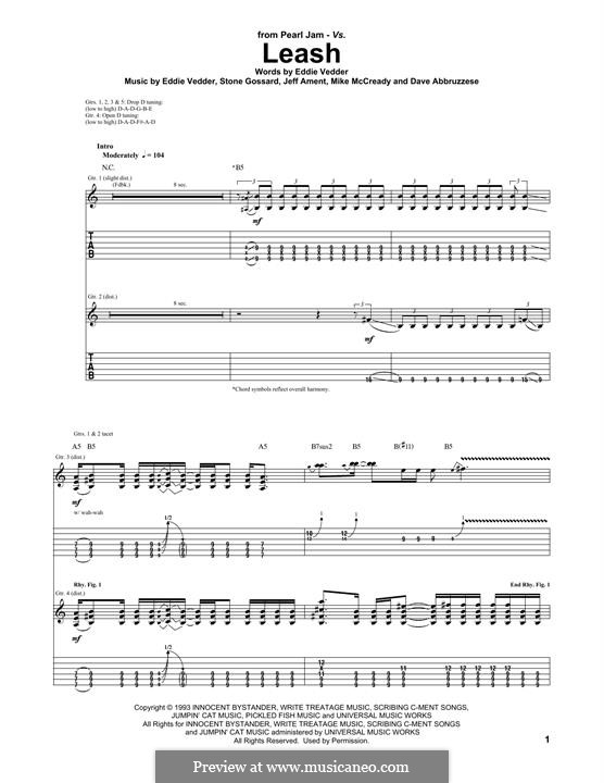 Leash (Pearl Jam): For guitar with tab by Eddie Vedder, Jeff Ament, Mike McCready, Stone Gossard