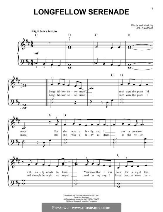 Longfellow Serenade: For piano by Neil Diamond