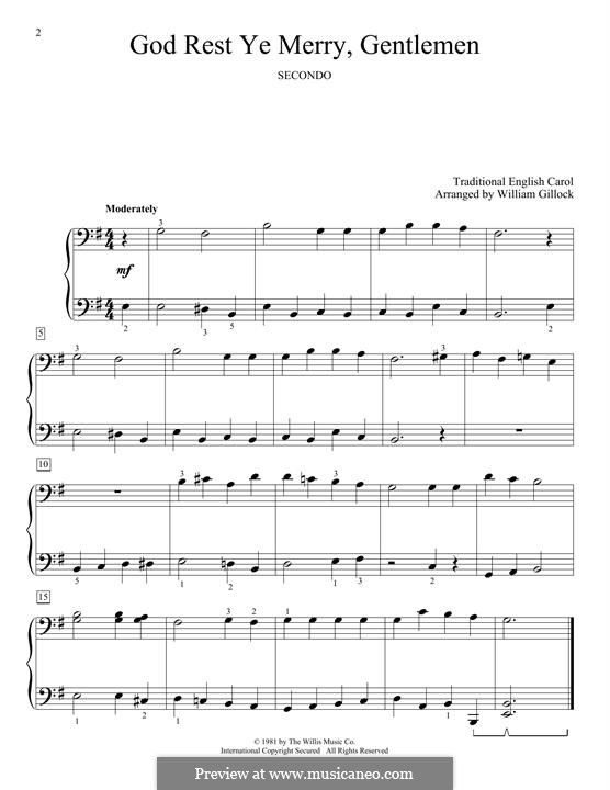 God, Rest Ye Merry Gentlemen: For piano by Unknown (works before 1850)
