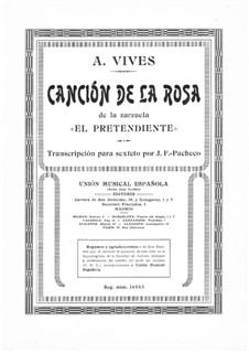 El Pretendiente. Canción de la Rosa: Piano part by Amadeo Vives