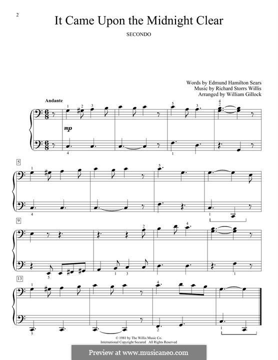 It Came upon the Midnight Clear, for Piano: For a single performer by Richard Storrs Willis
