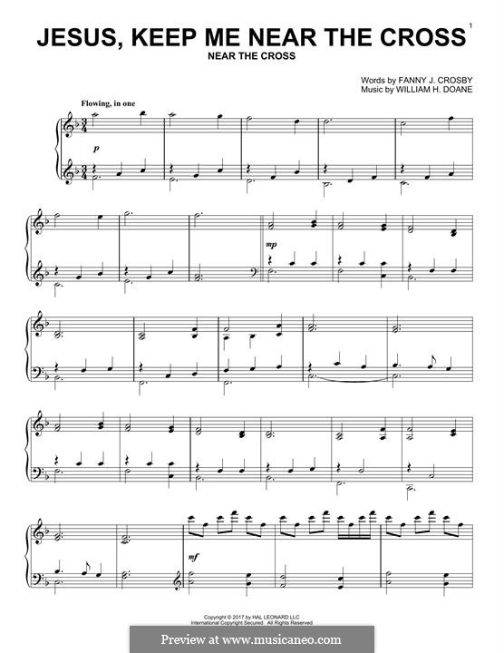 Jesus Keep Me Near the Cross: For piano by William Howard Doane