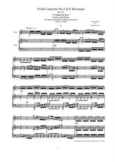 Violin Concerto No.5 in E Flat Major 'La tempesta di mare', RV 253 : Version for violin and piano by Antonio Vivaldi