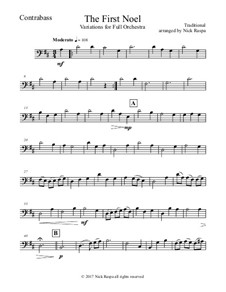 The First Noel. Variations: For full orchestra – contrabass part by folklore