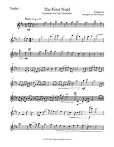 The First Noel. Variations: For full orchestra – violin 1 part by folklore