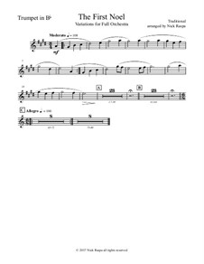 The First Noel. Variations: For full orchestra – B Flat trumpet part by folklore