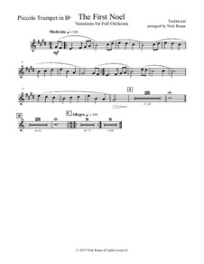 The First Noel. Variations: For full orchestra – piccolo trumpet in B flat part by folklore