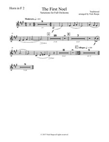 The First Noel. Variations: For full orchestra – horn in F 2 part by folklore