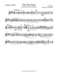 The First Noel. Variations: For full orchestra – clarinet in Bb 2 part by folklore