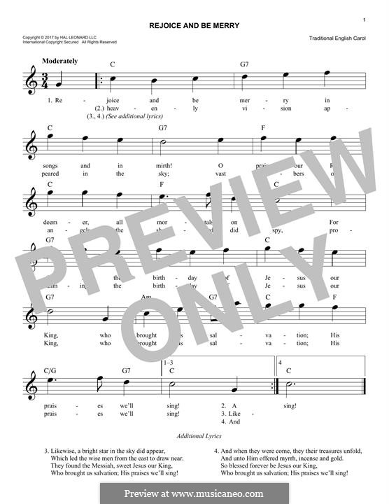 Rejoice and Be Merry (The Gallery Carol): Melody line by folklore