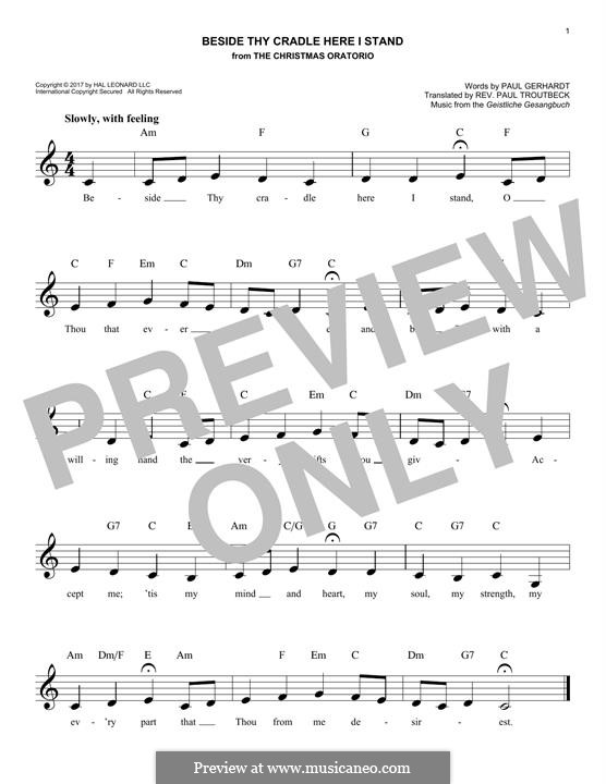 Beside Thy Cradle Here I Stand: Melody line by Unknown (works before 1850)