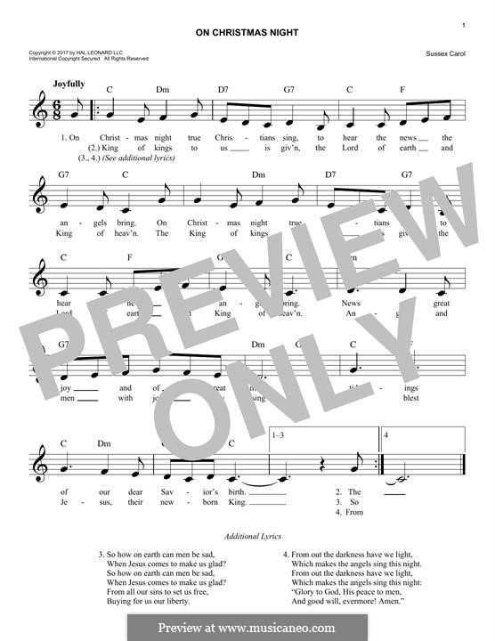 On Christmas Night (Traditional Carol): Melody line by folklore